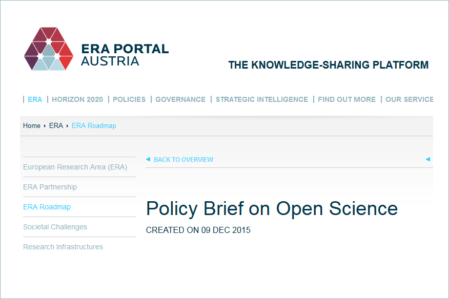 ERA Policy Brief on Open Science